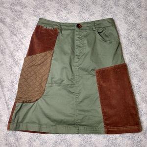 Anthro Meadow Rue green brown patchwork skirt SZ 4